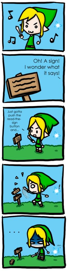 Legend_of_Zelda: Link, Navi the fairy, and signs - The Legend of Zelda: Ocarina of Time; funny comic.