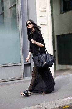 sheer black. #MingXi #offduty in Milan.