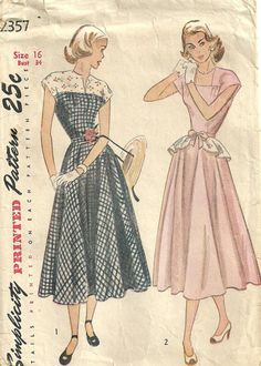 Simplicity 2357 Vintage 40s Sewing Pattern