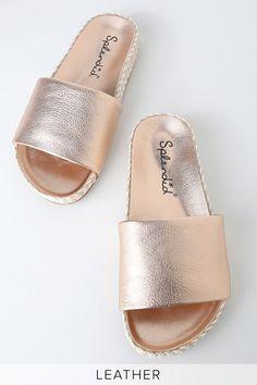 5e5051f06a4  ad Sanford Rose Metallic Leather Espadrille Slide Sandal Heels - Lulus.  Price   108.00