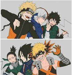 Naruto x Boku kein Held Academia, - My Hero Academia Manga Anime, Fanarts Anime, Anime Meme, Otaku Anime, Naruto Shippuden Anime, Naruto Kakashi, Anime Naruto, Shikamaru, Gaara