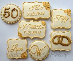 2 Dozen  50th Golden Wedding Anniversary by SugaredHeartsBakery, $96.00