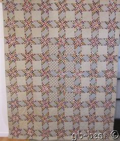 "INCREDIBLE 1890s Touching Feather Stars Antique QUILT 1/2"" pcs 5,796  USA Flag"
