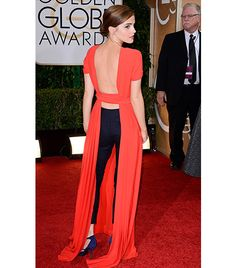 @Alexandra M What Wear - The back seen round the world:  fashion risk-taker Emma Watson proved this trend isn't just for street style, by stepping out at the 2014 Golden Globes wearing a Dior Haute Couture open-back dress with slick cropped trousers and Roger Vivier pumps.