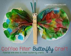 """{ Coffee Filter Butterfly Craft }Eric Carle """"The Very Hungry Catepillar"""" My advice is to use 2 coffee filters."""