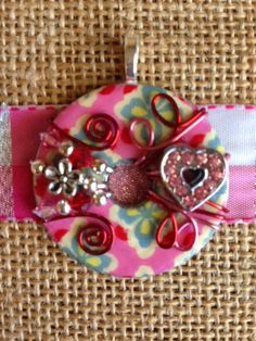 Pretty Patterned Washer Pendant With Red and Pink by KsPeddlers, $21.00