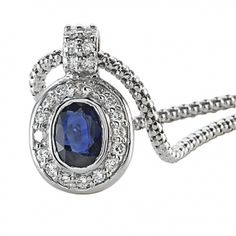 Oval Sapphire & Round Diamond Pendant with Fope Chain