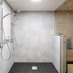 Harmaat seinälaatat Laundry In Bathroom, Bathroom Cleaning, Sweet Home, Bathtub, Interior Design, Saunas, Bathrooms, Home Decor, Bathroom Ideas
