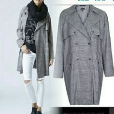 """New Topshop Prince of Wales Checker Coat 10 12 L Snap closures. New. Bust 44""""  Size 10 but also fits 12 And L. Top to bottom 38. Topshop Jackets & Coats"""