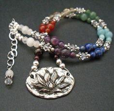 Chakra Healing Lotus Necklace - natural gemstone healing necklace