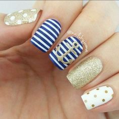 Navy Blue and Gold Nautical Nails With Anchor.: