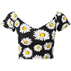 Motel Danny Crop Top ($27) ❤ liked on Polyvore featuring tops, shirts, crop tops, t-shirts, wild daisy, womens-fashion, crop top, short sleeve tops, cotton crop top and v-neck tops