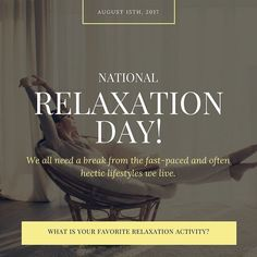 Take a deep breath and just enjoy your life!  #NationalRelaxationDay #Relaxation #Relax #WorkHard #Break