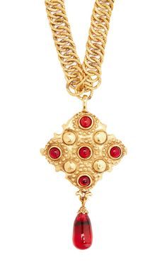 Chanel Gold And Red Gripoix Dangle