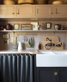 The Scullery Reveal — A Layered Life Vintage Wall Sconces, Vintage Walls, Shaker Cabinets, Kitchen Cabinets, Bead Board Walls, Wood Backsplash, Cafe Curtains, Upper Cabinets, Slow Living