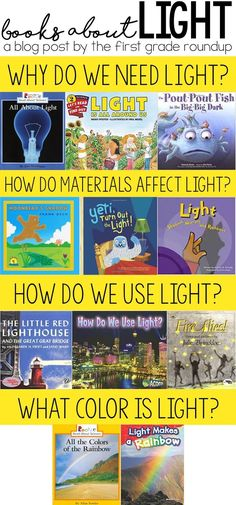 Unit outline and trade books for learning about light from the Next Gen Science Standards for Grade! First Grade Science, Primary Science, First Grade Activities, Kindergarten Science, Science Books, Elementary Science, Science Lessons, Science Education, Teaching Science
