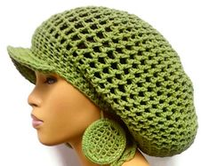 Sage Green Slouch hat, Tam, Dreadlock hat with brim and drawstring free crochet earrings 100% Cotton