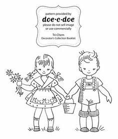 Hansel & Gretel Embroidery Pattern (doe-c-doe), Front