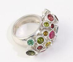 Luxury Natural Cocktail Tourmaline Multi Stone Gemstone Ring 925 Sterling Silver #Handmade #Ring