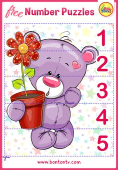 FREE Number Puzzles - Preschool Printables for Kids - Learning Numbers, Counting - Fun Math Activities and Worksheets for Homeschooling, Kindergarten and Grade 1 - by BonTon TV Numbers For Kids, Numbers Preschool, Learning Numbers, Free Preschool, Preschool Printables, Preschool Learning, Learning Tools, Abc Crafts, Lesson Plans For Toddlers