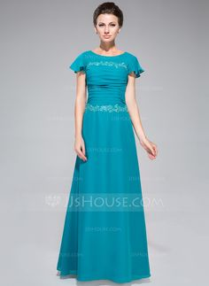 Sheath/Column Scoop Neck Floor-Length Chiffon Mother of the Bride Dress With Ruffle Lace Sequins (008042312) - JJsHouse