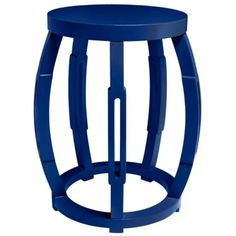 Blue Lacquer Taboret Side or End Table