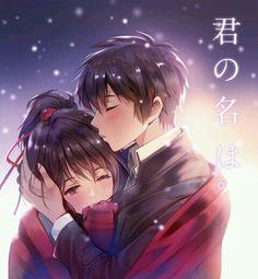 Miyamizu Mitsuha and Tachibana Taki - Your Name / Kimi no na wa Couple Anime Manga, Manga Anime, Anime Love Couple, Cute Anime Couples, Anime Love Movies, Kimi No Na Wa, Hyouka, Nisekoi, Mitsuha And Taki