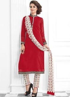 Red Lace Border Work Cotton Silk Printed Party Wear Pakistani Salwar Suit http://www.angelnx.com/Salwar-Kameez/Pakistani-Suits