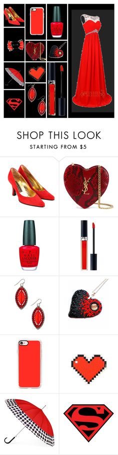"""Red in black."" by katniss4117-1 on Polyvore featuring Gianmarco Lorenzi, Yves Saint Laurent, OPI, Christian Dior, Casetify, Anya Hindmarch, ShedRain and Disney"