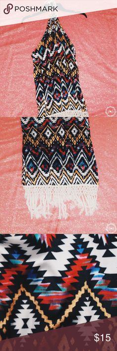 Halter Beach Dress ♡Halter Beach Dress ♡Geometric Pattern ♡Satin Material  ♡Fringe  ♡Color: Multi Dresses Backless