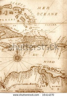 ✻⁓Cappi        ...Handwritten ancient map of Caribbean basin from the book of 1678