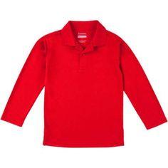 George School Uniform Boys Long Sleeve Performance Polo Shirt, Size: 2XL (18), Red