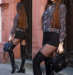 Get this look: http://lb.nu/look/8140633  More looks by Ariadna Majewska: http://lb.nu/ariadna92  Items in this look:  Floral Shirt, Black Shorts   #elegant #retro #street