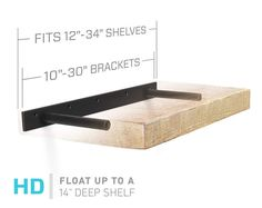 "Floating Shelf Bracket for 12"" to 34"" Long Floating Shelf - HEAVY DUTY - Hardware Only (Patent Pending)"