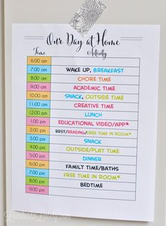 Looking to make an at-home schedule for kids during quarantine? Get tips for how to schedule your day, time management, daily routines, educational time for kids, and a list of online resources available. Kids Summer Schedule, Daily Routine Chart For Kids, Daily Routine Schedule, Day Schedule, Charts For Kids, Daily Routines, Kids Schedule Chart, Chore Schedule, Preschool Schedule
