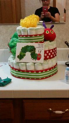 Very hungry caterpillar diaper cake