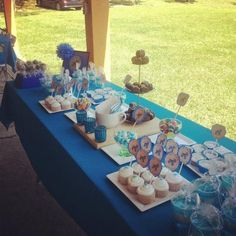 Baptism in Blue Baptism Ideas, Boy Baptism, Christening, Entertaining, Table Decorations, Party, Blue, Parties, Funny
