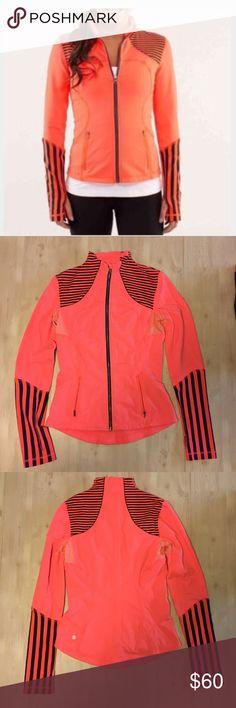 Lululemon Forme jacket Sz 6 Orange blue stripe Lululemon Forme Jacket Sz 6 bright orange/blue  stripe thumb holes arm out vents GUC lululemon athletica Jackets & Coats