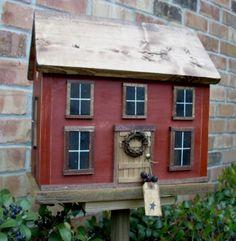Farmhouse Cottage Folk Art Primitive Birdhouse
