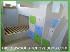 2 x bunk beds with slide and plenty of storage