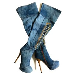 >> Click to Buy << Women Platform Denim Jeans Over the Knee High Boots Crystal Rhinestone Extreme High Heel Ladies Thigh High Winter Shoes 2017 #Affiliate