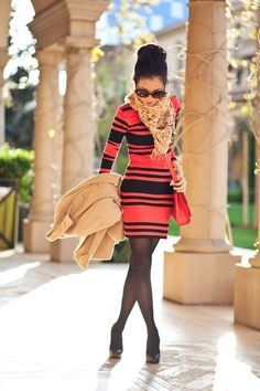 Love the pop of color - tangerine is the IT color for spring! And those semi-opaque tights are the perfect complement.