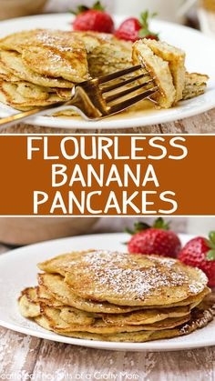 Start your morning off right with theses this refined sugar and gluten-free Flourless Banana Pancakes recipe. The recipe is just 3 ingredients and they are easy to make. Even though the pancakes don't quite taste like a traditional pancake, I think you wi Pancake Recipe Without Eggs, Keto Galletas, Flourless Banana Pancakes, Banana Protein Pancakes, Gourmet Recipes, Cooking Recipes, Pancakes Easy, Keto Pancakes, Low Calorie Pancakes