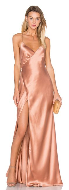 Strappy wrap gown by Michelle Mason. Self & Lining: 100% silk. Dry clean only. Fully lined. Wrap front with tie closure. MASO-WD333. M...