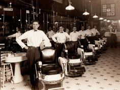 Back in the days when uniformed barbers were de rigeur