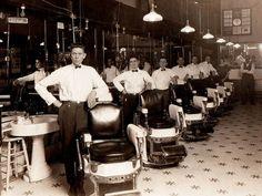 Back in the days when uniformed barbers were de rigeur