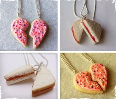 $9.25 Polymer Clay Best Friend Necklaces - Peanut Butter & Jelly Sandwich or Frosted Sugar Cookie at VeryJane.com