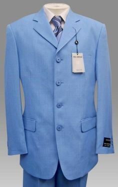 SKU# TNP797 Beautiful Mens Sky Blue Pastel Color 3 Button Style Jacket Plus Pants  Dress With Nice Cut Smooth Soft Fabric $139