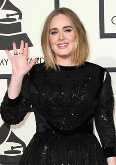 Elegant Adele in Givenchy black sequined gown at 2016 Grammy Awards. #grammys