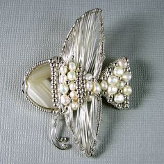 Angelfish Pendant Pearls and sterling silver by WireYourWorld, $164.99